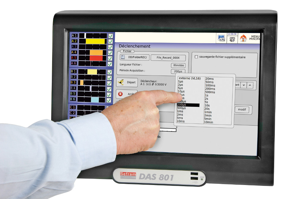 12 multiplexed channels paperless recorder, panoramic touch screen, no fan Model DAS801SV